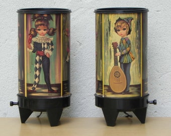 Pair Eden Big Eye Moppets Harlequin Low Light Lamps