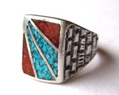 Vintage Mens Ring Navajo Indian Turquoise & Coral Inlay Sterling Silver Ring size 11