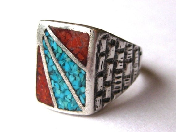 Vintage Mens Ring Navajo Indian Turquoise Amp Coral Inlay