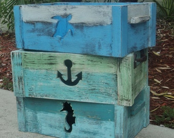Storage Crate,Tote Box, Beach House Decor, Nautical, Anchor Cutout