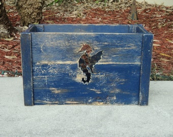 Seahorse Cutout Wooden Crate, Storage Crate,Tote Box, Beach House Decor, Nautical, Anchor