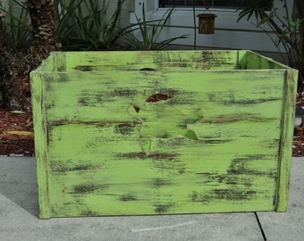 Large Decorative Crate, Wooden Box, Beach House Decor, Storage Crate, Nautical, Wooden Cutout