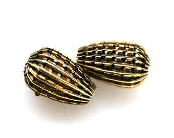 16x11mm Pear Teardrop Antiqued Brass Pierced Corrugated Beads, Quantity 2