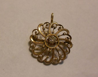 Antique Victorian Gold & Diamond Brooch--spectacular 100 year old plus piece.