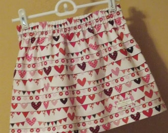 READY TO SHIP: Hearts and Banners Valentine's Skirt, Size 2, 3, 4, 5, 6, and 7