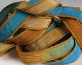 Hand Dyed Silk Ribbon, Silk Wrist Wrap, Silk Crinkle Ribbons, Fairy Ribbon - Quintessence - Tuscan Terrace