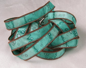 Silk Ribbons - Hand Dyed Painted Silk Art  - Jewelry Bracelet Wrist Wrap - Teal chocolate - Glacier Sparkle
