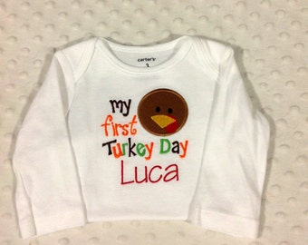 My First Thanksgiving - Personalized Bodysuit - Choose Boy or Girl Version
