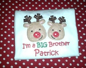 Sibling Reindeer Appliqué Christmas Shirt - Personalized Embroidery Big Brother, Lil Brother, Big Sister, Lil Sister Sibling Shirts