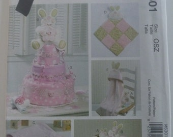 UNCUT McCalls Crafts Pattern M6301 Bunny Baby Toy, Burp Cloth, Baby Hooded Towel, Baby Blanket and Diaper Cake Pattern