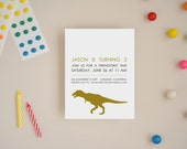 Custom Party Invitations - Dinosaur Silhouette - Choose Your Colors