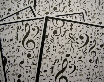Music Notes - Black and White Blank Notecards - Set of 6