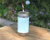 Mint Arrows Mason Jar cup  24 oz large Tumbler with fabric sleeve- travel mug -  2 candy swirl straw included
