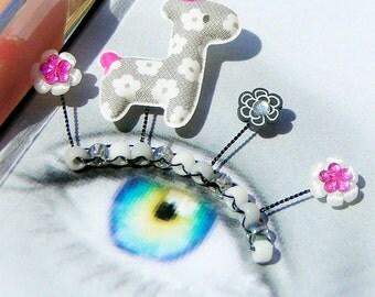 Black and White Llama Eyelash Jewelry - false eyelashes with monochrome llamas and fuchsia accents