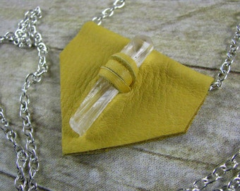 Leather Jewelry - Crystal Stone Necklace - Leather Necklace - Yellow Deer Skin Leather - Triangle Pendant - Long Necklace