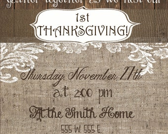 Customized Thanksgiving Invitation burlap