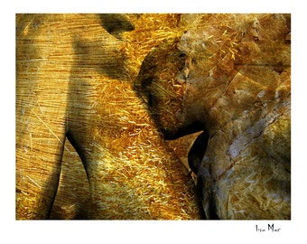 Lovers kissing, small giclee print inspired by August Rodins kissing couple