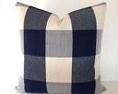 BOTH SIDES / Navy Blue / Cream Buffalo Check Pillow Cover / 16x16 / 18x18 20x20 22x22 24x24 26x26