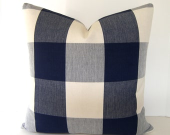 BOTH SIDES / Navy Blue / Cream Buffalo Check Pillow Cover / 16x16 / 18x18 20x20 22x22 24x24 26x26