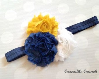 Mustard, Navy, and White Headband