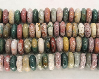 Center Drilled Natural Ocean Jasper Rondelle/Coin/Disc Beads - 16 Inch Strand