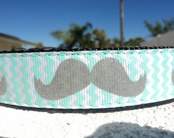 """Sale Dog Collar Chevron Gray Mustache 1"""" wide side release adjustable buckle / very limited ribbon no martingale"""