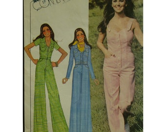 70s Overall Jumpsuit Pattern, Button Front, Fitted, Flared Pants, Shoulder Straps, Sleeveless, Short Jacket. McCalls No.4396 Size 12 Bust 34