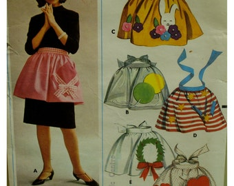 1960s Holiday Apron Pattern, Christmas, Birthday, Valentines Day, Easter, July 4th, Gathered, Waistband, Butterick No. 3306 UNCUT One Size