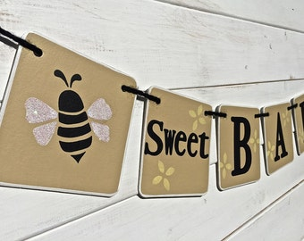 BEE Baby Shower Banner, Sweet Baby, bumble bee garland, gender neutral banner, baby girl, baby boy, baby photo prop, nursery decoration