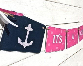 IT'S A GIRL Banner, nautical baby shower, pink and navy, anchor baby shower, baby girl, nursery decoration, Baby shower garland, photo prop