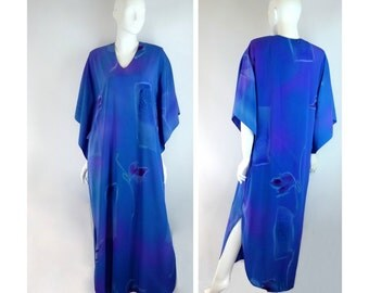 Caftan Ruth Norman for Neiman Marcus, Blue Purple Watercolor Kaftan with Gold Trim, Vintage 1980s Size Medium