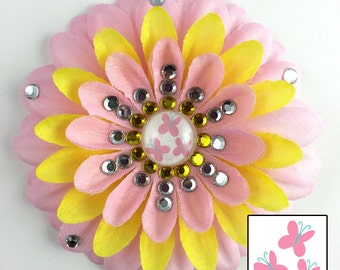 Fluttershy Pink and Yellow Penny Blossom Sparkly Rhinestone Flower Barrette