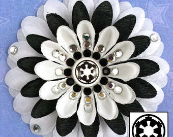 Galactic Empire White and Black Penny Blossom Sparkly Rhinestone Flower Barrette