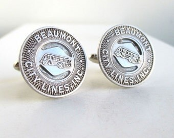 BEAUMONT, TX Token Cuff Links - Vintage, Repurposed Silver Coins