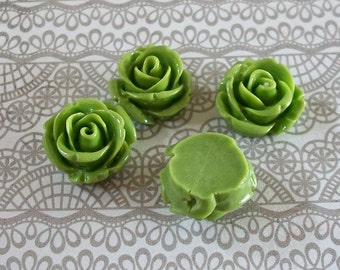 Tiny Lime Green Acrylic Rose Beads