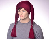 Maroon Jester Hat Two Point Burgundy Harlequin Style with Tassels Adult Women Man Costume Hat Ponytail Clown Beanie
