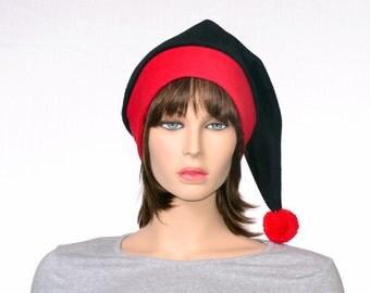 Black Red Stocking Cap Toboggan Hat Red Brim Women Mens Goth Elf Hat Black Santa Hat