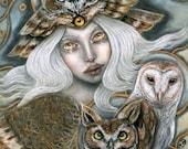 Owl Harpy mythological pagan goddess 11x14 fine art print