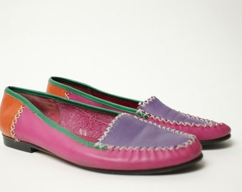 Awesome Vintage 80s/90s Color Block Funky Fresh Colorful Leather Slip On Shoes
