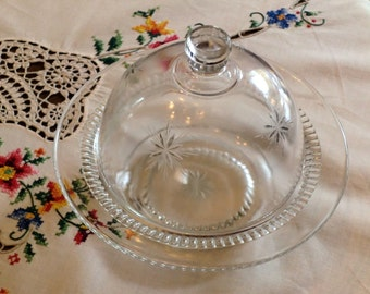 Vintage Glass Butter/ candy/ jewlery/  Dish with cover