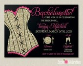 CUSTOMIZED PRINTABLE Black, Gold Glitter and Pink Lingerie Bachelorette Party Shower Invitation