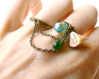 Tones of blue and old pink childhood ring ( multi strands, double ring, retro, flower, blue turquoise, cyan, jam ) 12