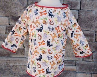4/5 Art Smock - Size 4 Size 5 - Woodland Animals - Waterproof and Long Sleeved
