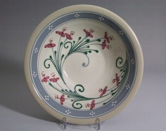 "Medium 9"" Stoneware Bowl Red and Pink Flowers with blue grey border"