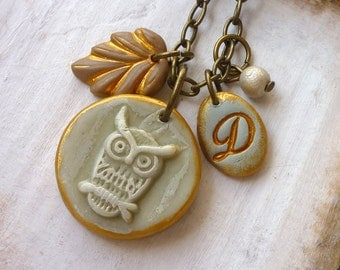 Whimsical Owl and initial Necklace, Owl and Letter necklace, Teen Jewelry, Quinceañera, Sweet 16