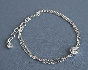 Sterling Silver CZ Bracelet, Cubic Zirconia Bracelet, Minimalist Modern Jewelry,Bridesmaid Bracelet, Solitaire CZ Bracelet, Everyday Jewelry