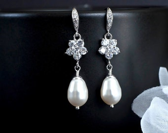 Bridal Earrings, Teardrop Pearl Bridal Earrings, Bridesmaids Earrings, Pearl Jewelry Cubic Zirconia Ear Wires and Flower Connectors