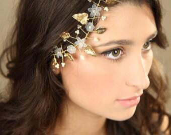 gold Leaf hair vine ,Bridal hair vine, bride gold hair accessories, flower hair vine, wedding hair accessories,