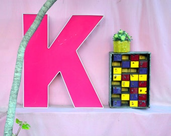 Giant 3ft Vintage Marquee Sign Letter Capital 'K': Very Large Pink & White Neon Channel Initial - Reclaimed Industrial Advertising Salvage