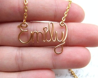 Wire Name Necklace, Gold Personalized Name, 14K Gold Filled, Girls Name Necklace, Custom Name for Kids Bridesmaids Necklace, Bridesmaid Gift